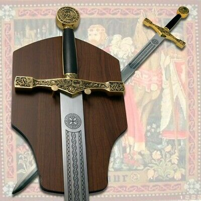 Medieval King Arthur Excalibur Legendary Sword Wall Hanging with Plaque Gold