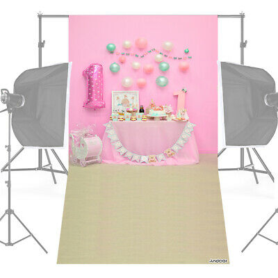 Andoer 1.5 * 0.9m/5 * 3ft First Birthday Party Photography Background Pink O7P7