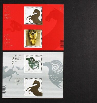 CANADA 2014/2015 Lunar Year Horse #2700a, Year of Snake #2802a, set of 2 S/S MNH