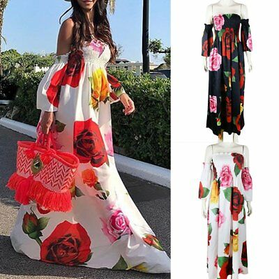 Women Pretty Long Maxi Dress Cocktail Party Evening Summer Beach Sundress Print