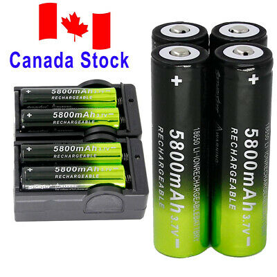 8* 5800mAh 18650 Batteries 3.7V Rechargeable Battery +2x Smart Charger For Torch