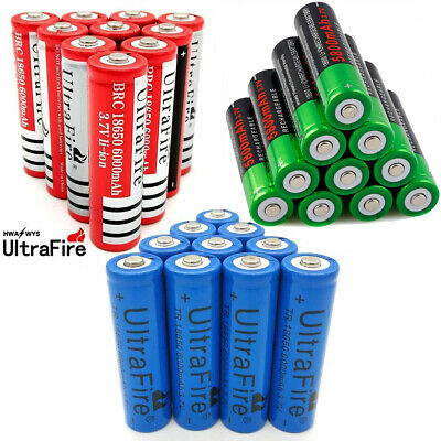 10pc 3.7V 6000mAh 18650 Battery Batteries Rechargeable Smart Charger Skywolfeye