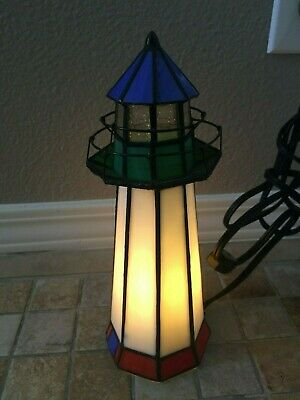 Stain Stained Red White Blue Glass Lighthouse Light Lamp