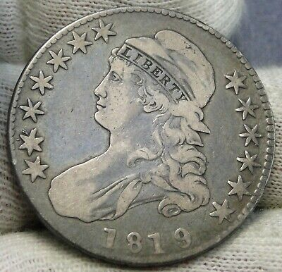 1819/8 Capped Bust Half Dollar 50 Cents - Nice Coin, Free Shipping (8243)