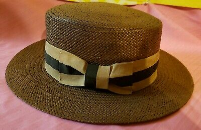Men's Bruno Capelo 100% Straw Boater Collection Brown Size Small Hat