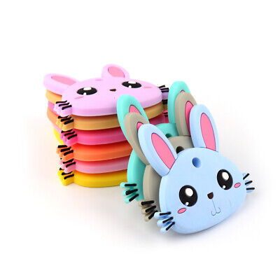 Rabbit Infants Baby Teether Chewable Silicone Pandent Teething Toy Soother