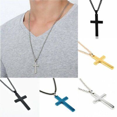 Stainless Steel Cross Pendant Link Chain Men Metal Gold/Silver Plated Necklace