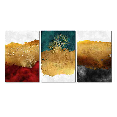 Large Wall Art Picture Print On Canvas Modern Gold Color Abstract Painting Decor