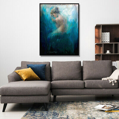 Lonely Mermaid HD Canvas prints Painting Home Decor Picture Room Wall art Poster