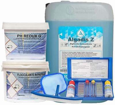 20 kg Antialghe + 5 kg Flocc + 5 kg Ph redux g + Kit test ph + retino + spazzola