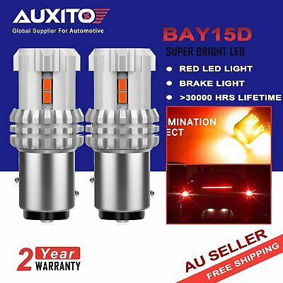 2X Auxito Bay15D 1157 Red Led Brake Stop Tail Light Bulbs Globe Super Bright