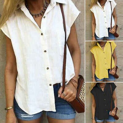 ZANZEA Women Ladies Short Sleeve Buttons Shirt Tee Tops Tunic Blouse Plus Size
