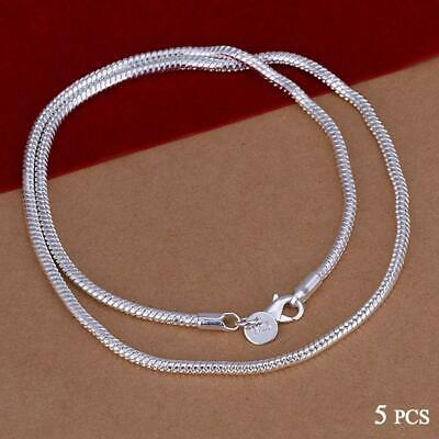 Fashion 5pcs 925 Sterling Solid Silver Necklace 1mm Snake Chain 16-30inch EV