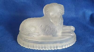 Collectable C19th Vict Un-registered John Derbyshire Frosted Glass Dog Figure