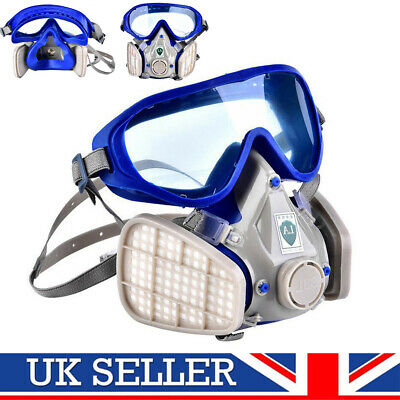 Silicone Full Facial Respirator Gas Mask &Goggles Anti Dust Protection Breathing
