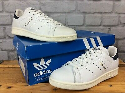 uk availability 79766 54d6f Adidas Mens Uk 4 Eu 36 2 3 White Stan Smith Leather Trainers Navy Heel