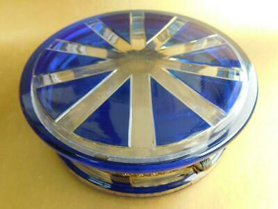 Antique Glass Trinket Vanity table Box Blue Flashed Cut to Clear Bohemian 1900s