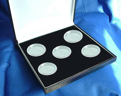 Black Case for 5 x UK 1oz Silver or Cupro-Nickel Coins Including Capsules