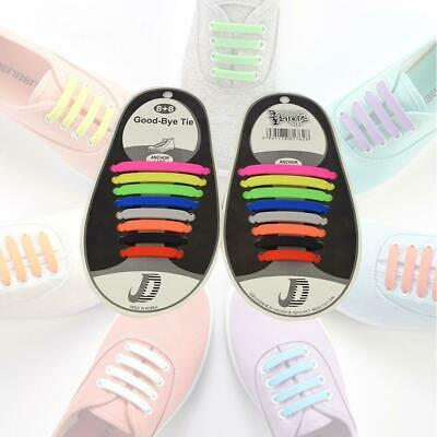 Cool Easy NoTie Shoelaces Elastic Silicone Flat Shoe Lace Set for Kids Adults EV
