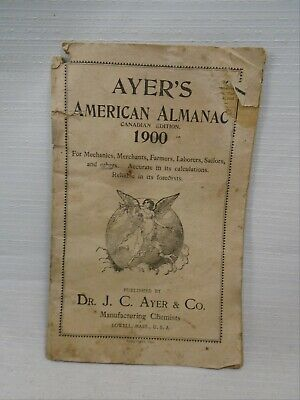 Ayer's American Almanac Canadian Edition 1900 Manufacturing Chemists Lowell Mass