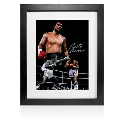 Framed Roberto Duran Signed Photo - Boxing Legend Autograph