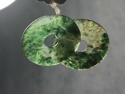 A PAIR of Dark Green Antique Jade Discs with original tag... Bi Disc?