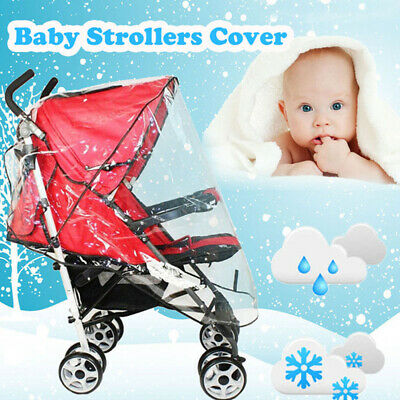 Universal Plastic Waterproof Strollers Cover Wind Shield Pushchairs Rain Shades