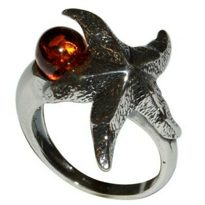 8.33g Authentic Baltic Amber 925 Sterling Silver Ring Jewelry N-A7550