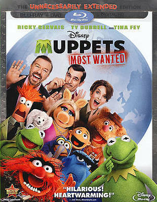 Muppets Most Wanted (Blu-ray/DVD, 2014, 2-Disc + Digital HD) w/slipcover, NEW!