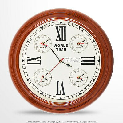 "16"" Handmade Wooden Wall World Time Clock with 4 Zones Decoration Nautical Gift"