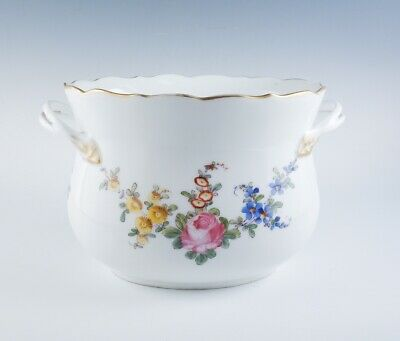 Antique Germany Meissen Oval Porcelain Floral Hand Painted Scalloped Rim Pot