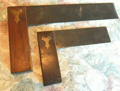 Pair of Antique Vintage Brass and Rosewood Handle Carpenter's Try Squares