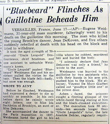 1939 newspaper SERIAL KILLER EXECUTED by GUILLOTINE France LAST PUBLIC EXECUTION