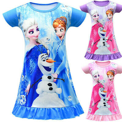 Cute Girls Frozen Elsa Anna Top T-shirt Dress Nightie Nightgown Nightdress