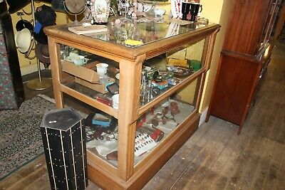 "Antique General STORE CIGAR HUMIDOR DISPLAY SHOW CASE OAK 48L X 28.5"" X 43"""