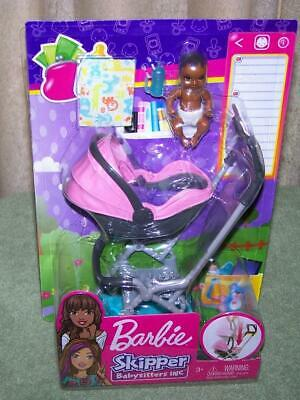 Barbie Skipper BABYSITTERS INC Stroller and AA Baby Playset New