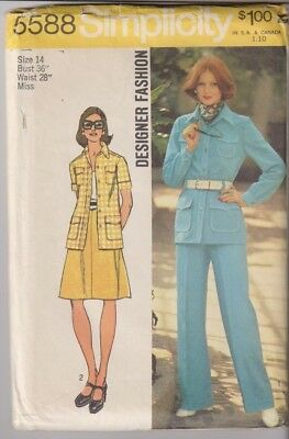 5588 SIMPLICITY Designer c.1974 - SHIRT-JACKET SKIRT PANTS - Sz 14 B 36""