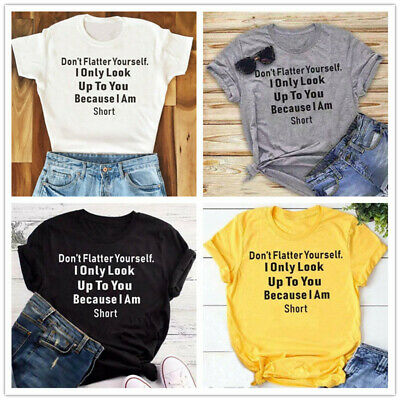 Women's Fashion Graphic Tee Letter Printed Tops for Women Summer Casual Tee W