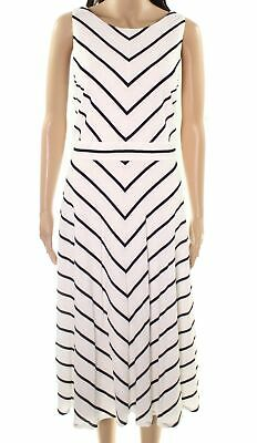 4c07535af9f9a Jessica Howard NEW White Women's Size 16 Bow-Back Striped A-Line Dress $99