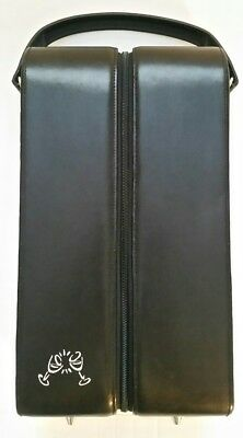 Leeman Wine Carrier 2 Bottle Zippered Caddy with Tool Pouch Black Leather