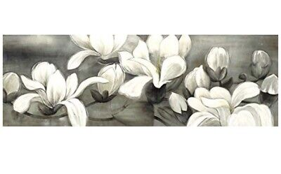 Framed Wall Art/ Floral Artwork Giclee Canvas Prints White and Grey