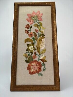 "Vintage Tapestry  flowers   Panel hand embroidered Picture 13"" X 6.5"" approx"