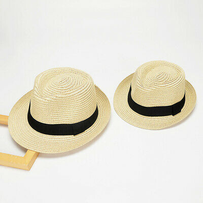 bd2308aeabedbc Mens Boys Kids Foldable Straw Panama Shape-Style With Black Band Summer Sun  Hat