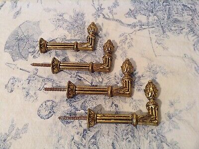 Two Pairs Vintage French Curtain Tie Backs - Acorn / Pineapple Finials (P53)