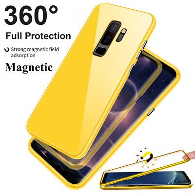 360° Magnetic Adsorption Glass Case Cover for Samsung Galaxy S10 S9 S8 Plus Skin