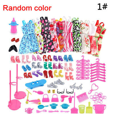 85pcs/Set Barbie Doll Dresses, Shoes and Jewellery Clothes Accessories