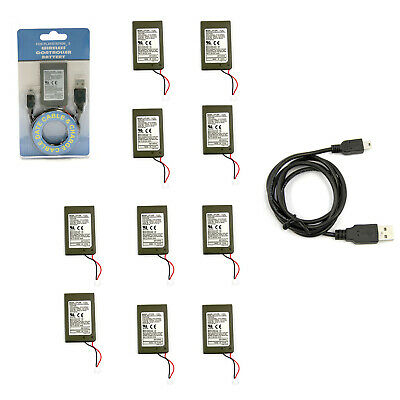 Wholesale Lot of 10 PS3 Internal Battery for Controller & Charge Cable Hexir