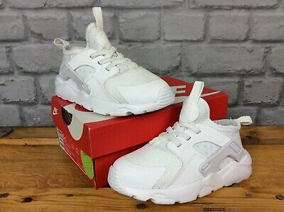 Nike Uk 9.5 Eu 27 White Huarache Run Trainers Girls Boys Childrens Toddler