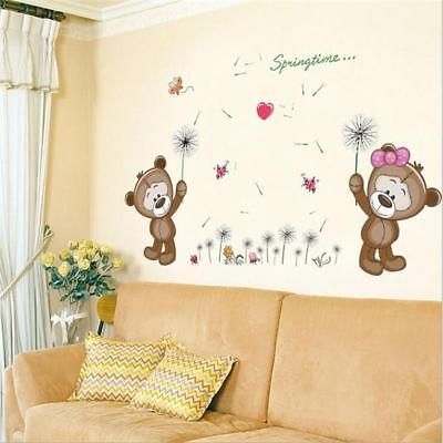 Cute Bears Play Wall Stickers REMOVABLE Nursery Baby Girls Room Art Decal DP