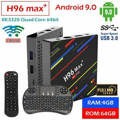 4GB/64GB H96 MAX Plus+ Android 9.0 Smart TV Box Quad Core USB3.0 WIFI + Tastatur